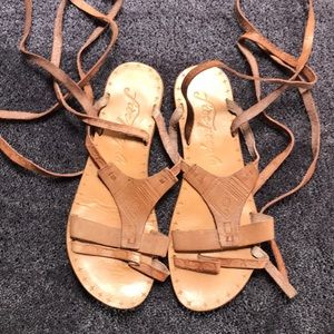 Free People brown leather tie up sandals Sz 8